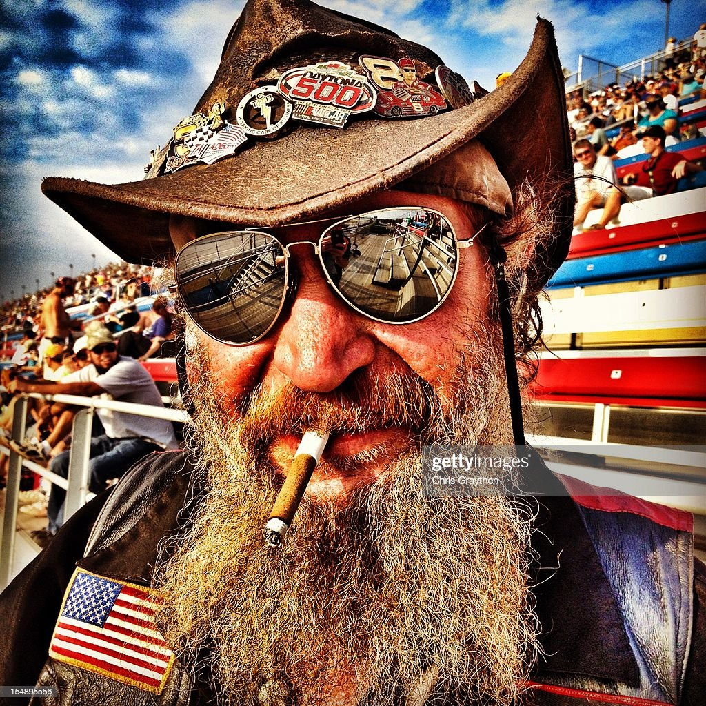 A NASCAR race fan attends the NASCAR Camping World Truck Series fred's 250 Powered By Coca-Cola at Talladega Superspeedway on October 6, 2012 in Talladega, Alabama.