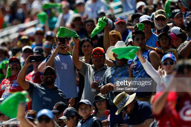 Race fans cheer during the Monster Energy NASCAR Cup Series O'Reilly Auto Parts 500 at Texas Motor Speedway on April 9 2017 in Fort Worth Texas