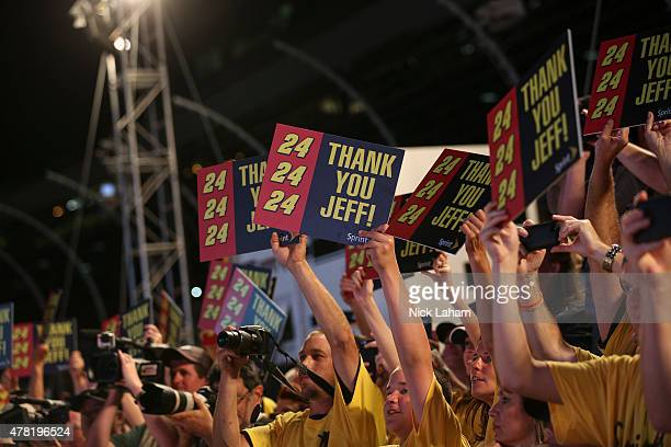Race fans cheer during the NASCAR Sprint Cup Series Sprint AllStar Race at Charlotte Motor Speedway on May 16 2015 in Charlotte North Carolina