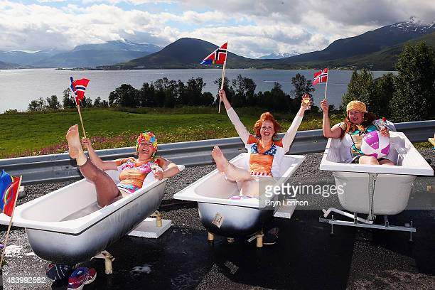 Race fans wait for the peloton during stage two of the 2015 Arctic Race of Norway a 1625km stage between Evenskjer and Setermoen on August 14 2015 in...