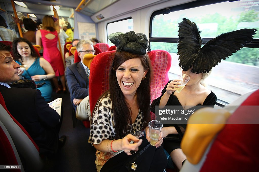 Race goers ride a train to Ascot on June 16, 2011 in London, England. Ladies Day at Royal Ascot includes the highlight Gold Cup race attended by Queen Elizabeth II.