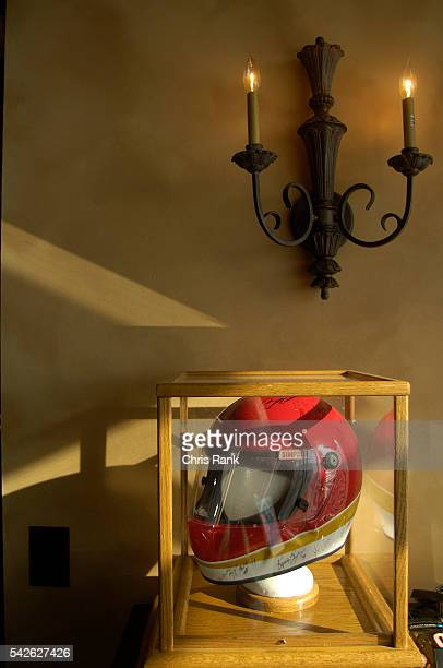 A race helmet is one of few decorations refering to the location of Jim and Muriel Dollar's condominium in 1500 Tara Place at the Atlanta Motor...
