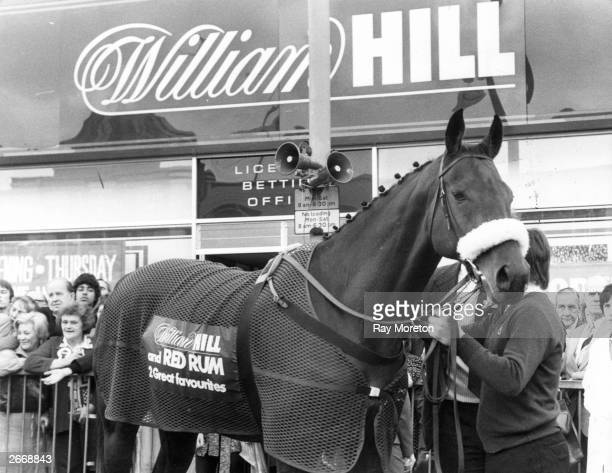 Race horse Red Rum opens a new William Hill betting shop in Kilburn High Road London