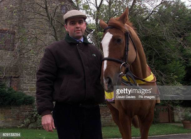 Race Horse Trainer Alan King with Stromness at his stables near Marlborough Wiltshire Stromness has been entered in the Gloucestershire Cricket Club...