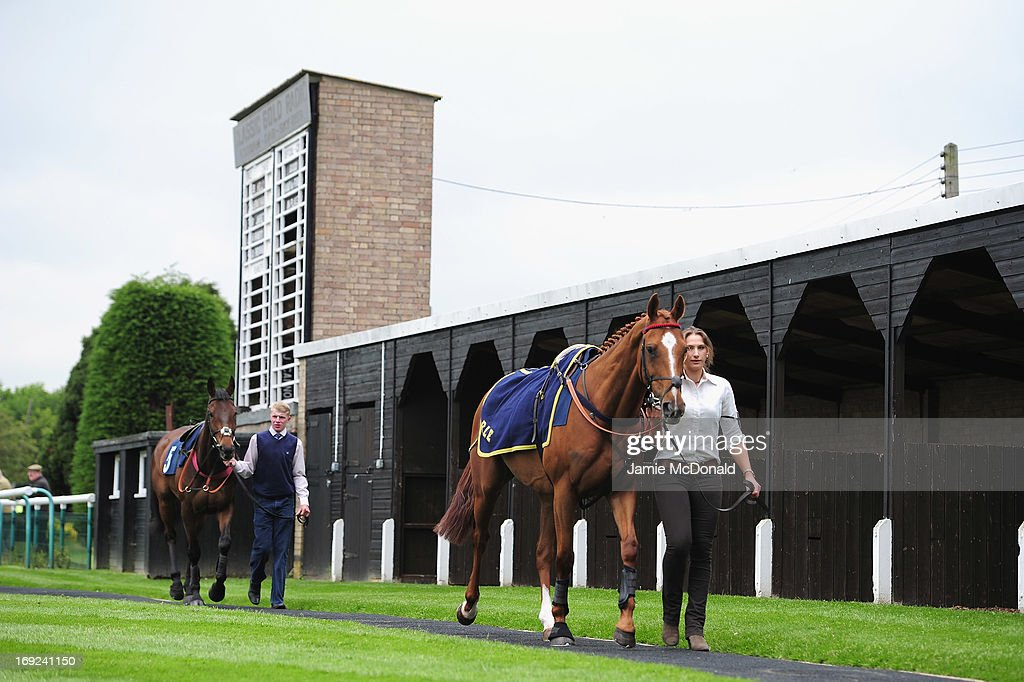 Race horses and paraded round the parade ring during racing at Huntingdon race course on May 22, 2013 in Huntingdon, England.