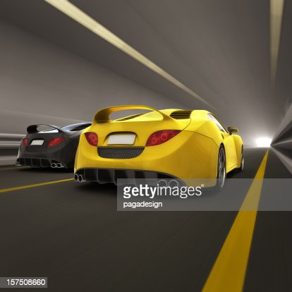 race in tunnel - rear view : Stock Photo