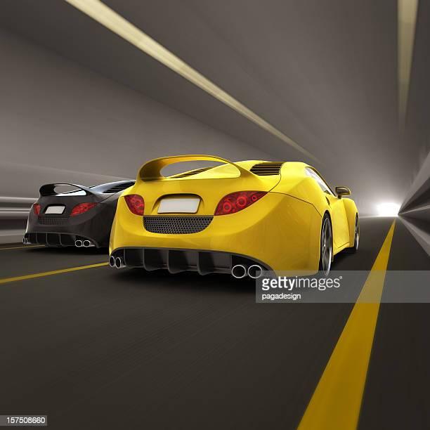 race in tunnel - rear view