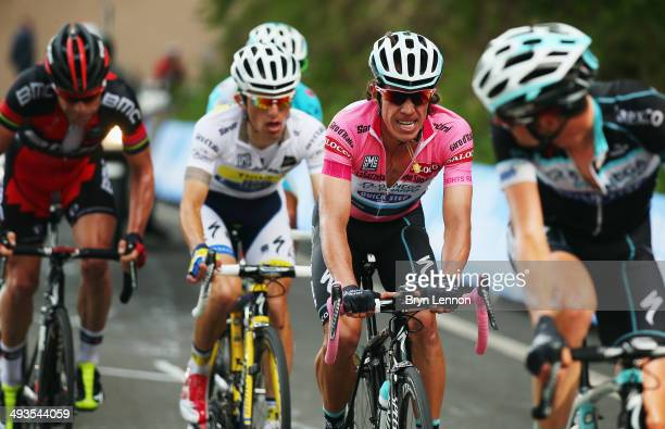 Race leader and wearer of the Maglia Rosa Rigoberto Uran of Colombia and Omega PharmaQuickstep in action during the fourteenth stage of the 2014 Giro...