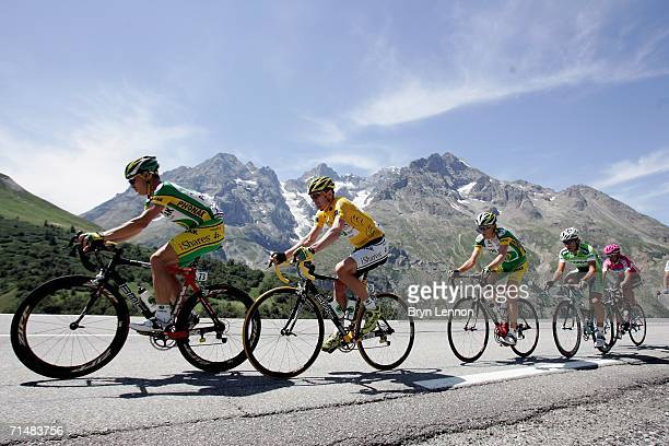 Race leader and yellow jersey holder Floyd Landis of the USA and Phonak climbs the Col du Galibier during Stage 16 of the 93rd Tour de France between...