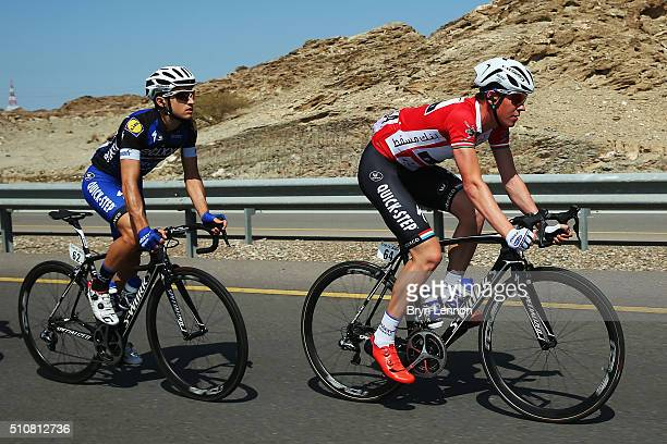 Race leader Bob Jungels of Luxembourg rides in the peloton during stage two of the 2016 Tour of Oman a 162km stage from Omantel Head Office to...