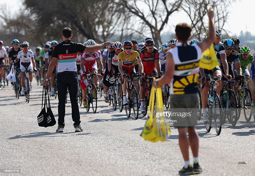 Race leader Brent Bookerwalter of the USA and the BMC Racing Team rides through the feed zone during stage four of the Tour of Qatar from Camel Race Track to Al Khor Corniche on February 6, 2013 in Al Khor Corniche, Qatar.