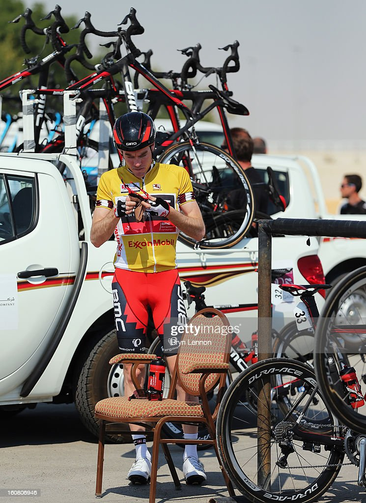 Race leader Brent Bookwalter of the USA and the BMC Racing Team prepares for the start of stage four of the Tour of Qatar from Camel Race Track to Al Khor Corniche on February 6, 2013 at Camel Race Track, Qatar.