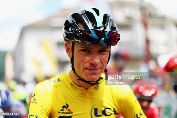 Race leader Chris Froome looks on at the start of stage six of the 2016 Criterium du Dauphine a 141km stage from La Rochette to Meribel on June 11...
