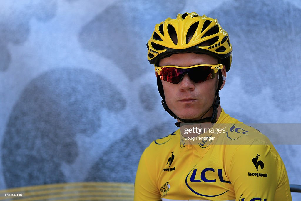 Race leader <a gi-track='captionPersonalityLinkClicked' href=/galleries/search?phrase=Chris+Froome&family=editorial&specificpeople=5428054 ng-click='$event.stopPropagation()'>Chris Froome</a> of Great Britain and Sky Procycling prepares for stage nine of the 2013 Tour de France, a 168.5KM road stage from Saint-Girons to Bagneres-de-Bigorre, on July 7, 2013 in Saint-Girons, France.