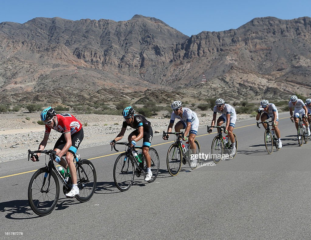Race leader Chris Froome of Great Britain and SKY Procycling rides in the peloton during stage six of the 2013 Tour of Oman from Hawit Nagam Park to the Matrah Corniche on February 16, 2013 in Matrah, Oman.