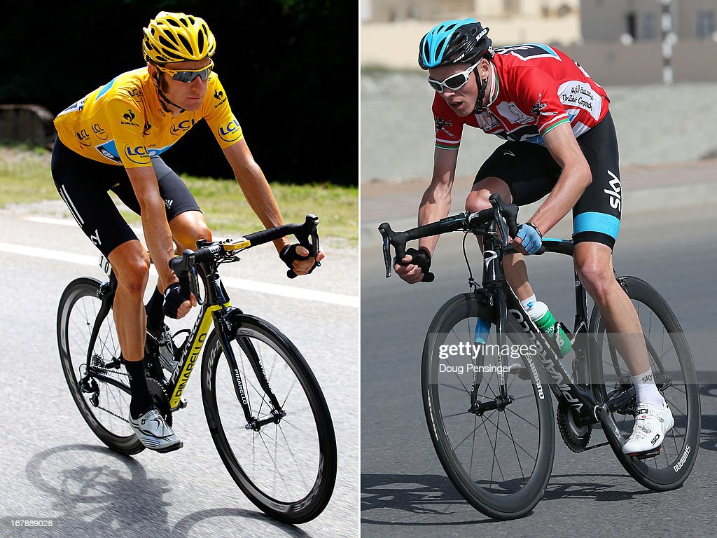 In this composite image a comparison has been made between Sir <a gi-track='captionPersonalityLinkClicked' href=/galleries/search?phrase=Bradley+Wiggins&family=editorial&specificpeople=182490 ng-click='$event.stopPropagation()'>Bradley Wiggins</a> (L) and Christopher Froome of Team SKY Procycling and Great Britain. Original image IDs are 148288822 (L) and 161737226. BOSHAR, OMAN - FEBRUARY 15: Race leader <a gi-track='captionPersonalityLinkClicked' href=/galleries/search?phrase=Chris+Froome&family=editorial&specificpeople=5428054 ng-click='$event.stopPropagation()'>Chris Froome</a> of Great Britain and SKY Procycling rides in the peloton during stage five of the Tour of Oman from Al Alam Palace to the Ministry of Housing in Boshar on February 15, 2013 in Boshar, Oman.