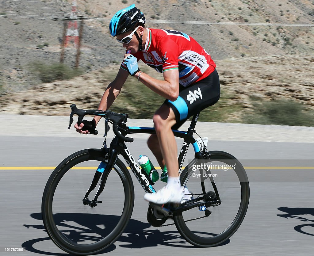 Race leader Chris Froome of Great Britain and SKY Procycling takes an energy gel during stage six of the 2013 Tour of Oman from Hawit Nagam Park to the Matrah Corniche on February 16, 2013 in Matrah, Oman.