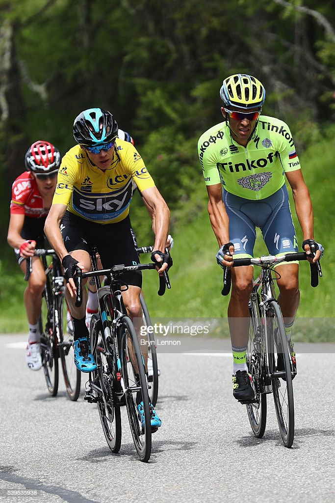 Race leader <a gi-track='captionPersonalityLinkClicked' href=/galleries/search?phrase=Chris+Froome&family=editorial&specificpeople=5428054 ng-click='$event.stopPropagation()'>Chris Froome</a> of Great Britain and Team SKY rides alongside <a gi-track='captionPersonalityLinkClicked' href=/galleries/search?phrase=Alberto+Contador&family=editorial&specificpeople=562697 ng-click='$event.stopPropagation()'>Alberto Contador</a> of Spain and the Tinkoff team during stage seven of the 2016 Criterium du Dauphine, a 151km stage from Le Pont-de-Claix to Superdevoluy, on June 12, 2016 in Superdevoluy, France.