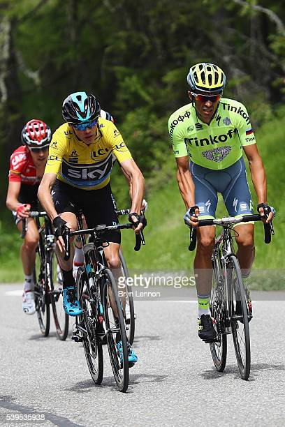 Race leader Chris Froome of Great Britain and Team SKY rides alongside Alberto Contador of Spain and the Tinkoff team during stage seven of the 2016...