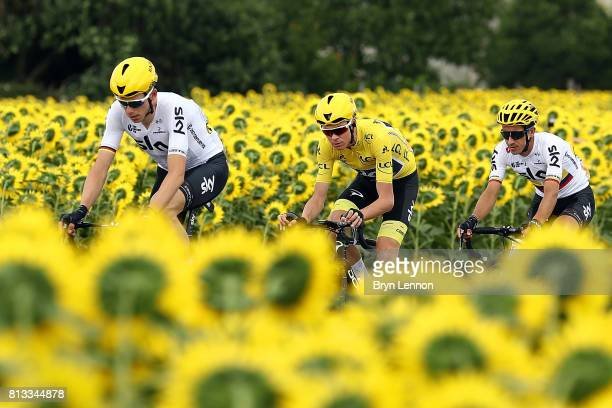 Race leader Chris Froome of Great Britain and Team SKY rides in the peloton during stage eleven of Le Tour de France 2017 a 2035km road stage from...