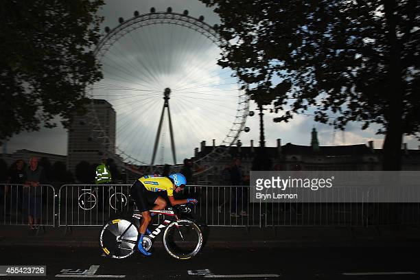 Race leader Dylan Van Baarle of The Netherlands and Garmin Sharp in action during stage 8a of the 2014 Tour of Britain an 88km time trial around...