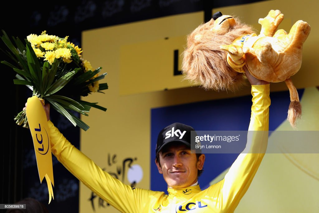 Race leader Geraint Thomas of Great Britain and Team Sky celebrates with the yellow leaders jersey during stage two of the 2017 Tour de France, a 203.5km road stage from Dusseldorf to Liege on July 2, 2017 in Liege, Belgium.