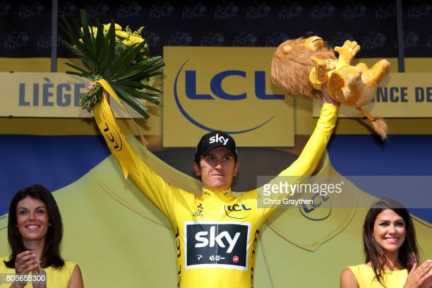 Race leader Geraint Thomas of Great Britain and Team Sky celebrates with the yellow leaders jersey during stage two of the 2017 Tour de France a...