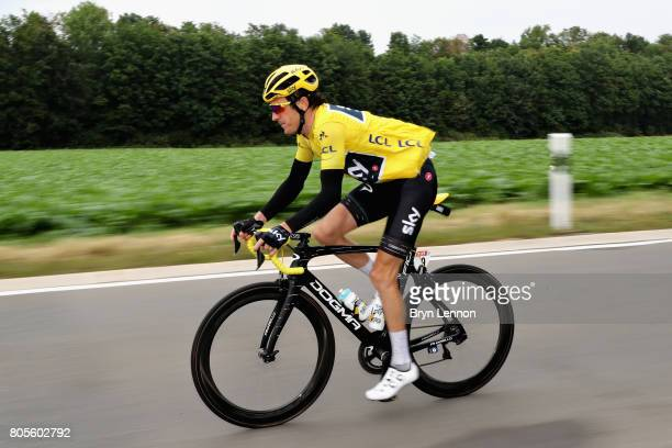 Race leader Geraint Thomas of Great Britain and Team Sky rides during stage two of the 2017 Tour de France a 2035km road stage from Dusseldorf to...