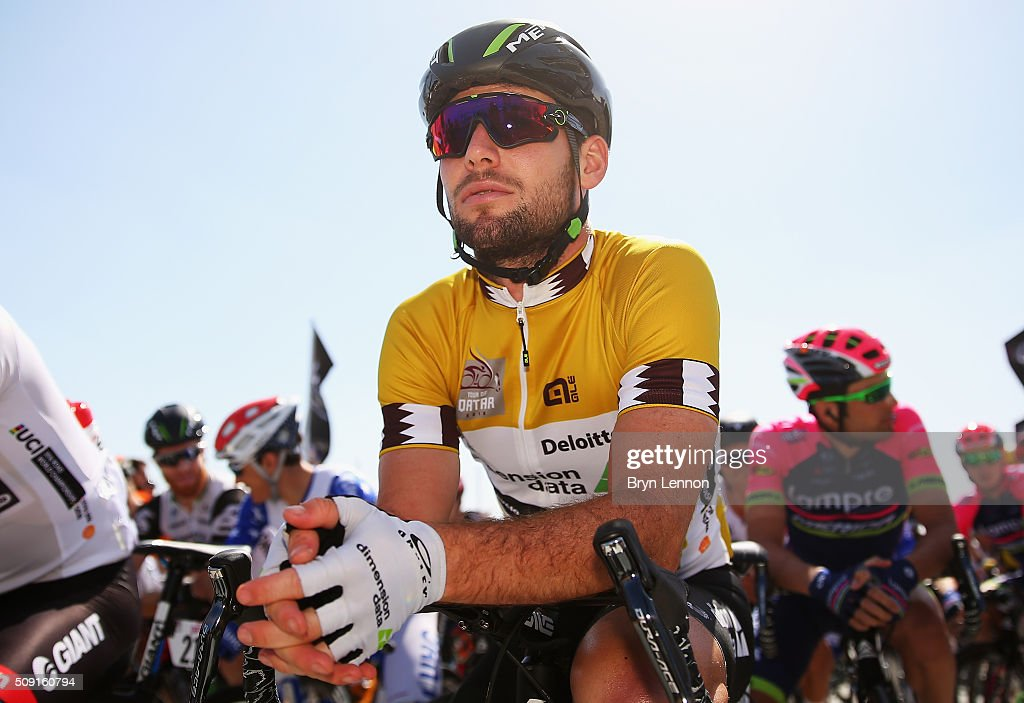 Race leader <a gi-track='captionPersonalityLinkClicked' href=/galleries/search?phrase=Mark+Cavendish&family=editorial&specificpeople=684957 ng-click='$event.stopPropagation()'>Mark Cavendish</a> of Great Britain and Dimension Data prepares for the start of stage two of the 2016 Tour of Qatar from Qatar University to Qatar Univeristy on February 9, 2016 in Doha, Qatar. The stage also serves as a test event for the World Road Race Championships which will be held in Doha in October.
