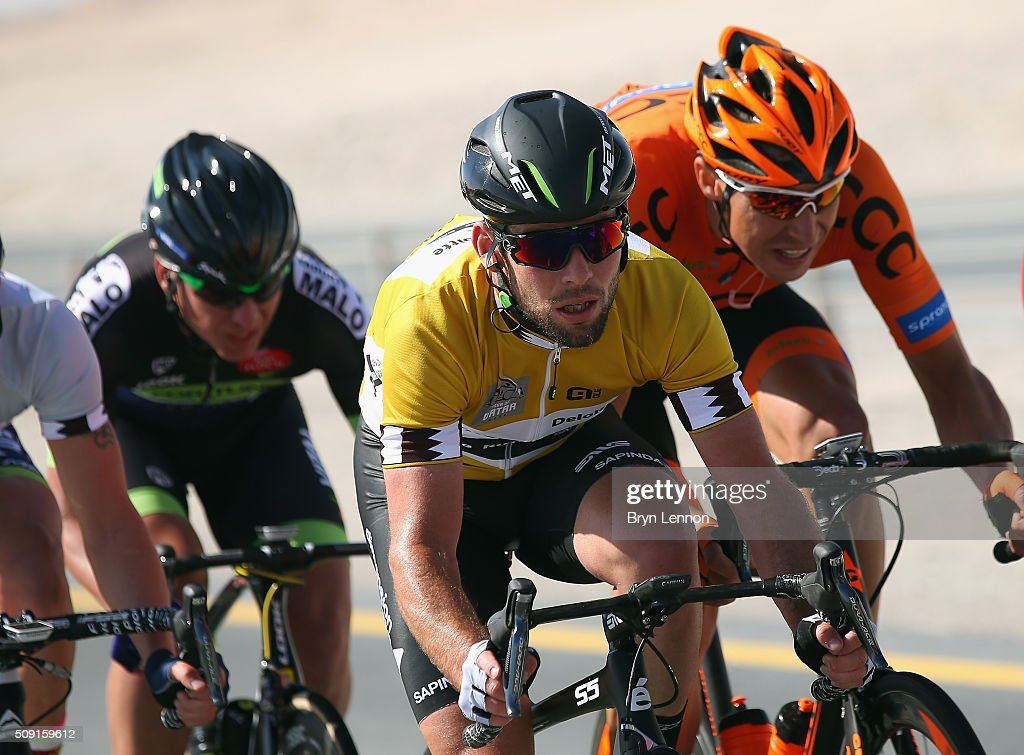 Race leader <a gi-track='captionPersonalityLinkClicked' href=/galleries/search?phrase=Mark+Cavendish&family=editorial&specificpeople=684957 ng-click='$event.stopPropagation()'>Mark Cavendish</a> of Great Britain and Dimension Data rides in the peloton on stage two of the 2016 Tour of Qatar from Qatar University to Qatar Univeristy on February 9, 2016 in Doha, Qatar. The stage also serves as a test event for the World Road Race Championships which will be held in Doha in October.