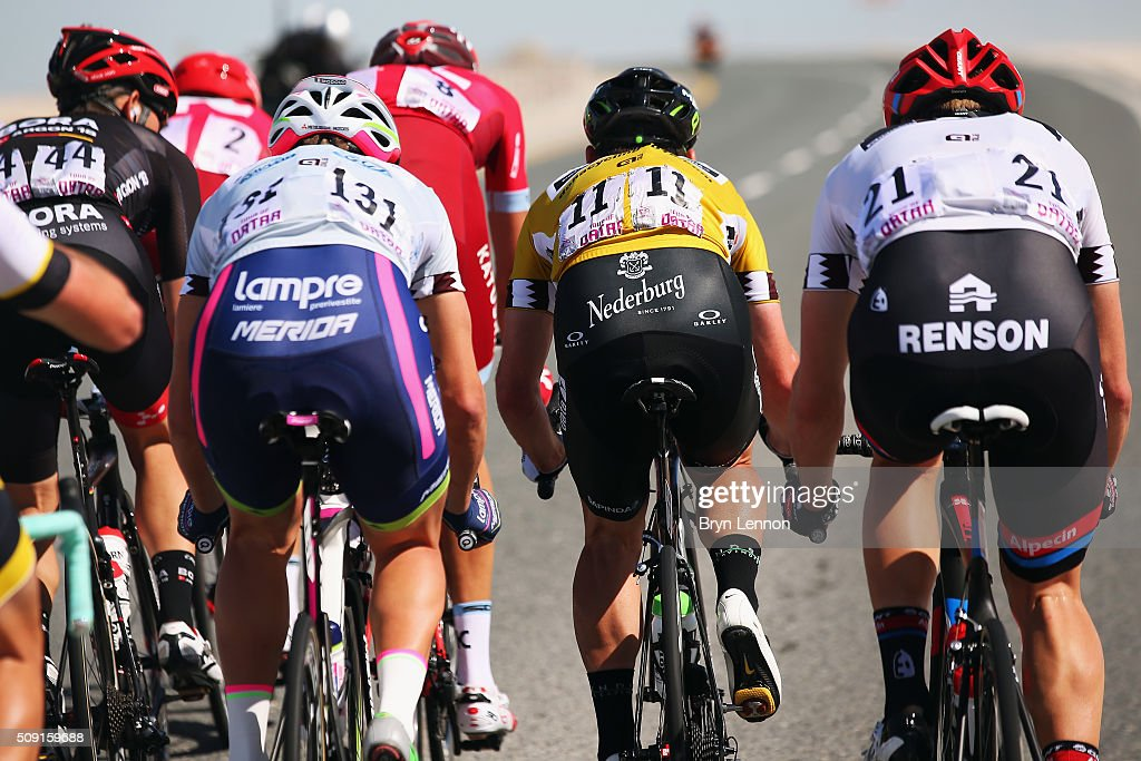 Race leader <a gi-track='captionPersonalityLinkClicked' href=/galleries/search?phrase=Mark+Cavendish&family=editorial&specificpeople=684957 ng-click='$event.stopPropagation()'>Mark Cavendish</a> (#11) of Great Britain and Dimension Data rides in the peloton on stage two of the 2016 Tour of Qatar from Qatar University to Qatar Univeristy on February 9, 2016 in Doha, Qatar. The stage also serves as a test event for the World Road Race Championships which will be held in Doha in October.