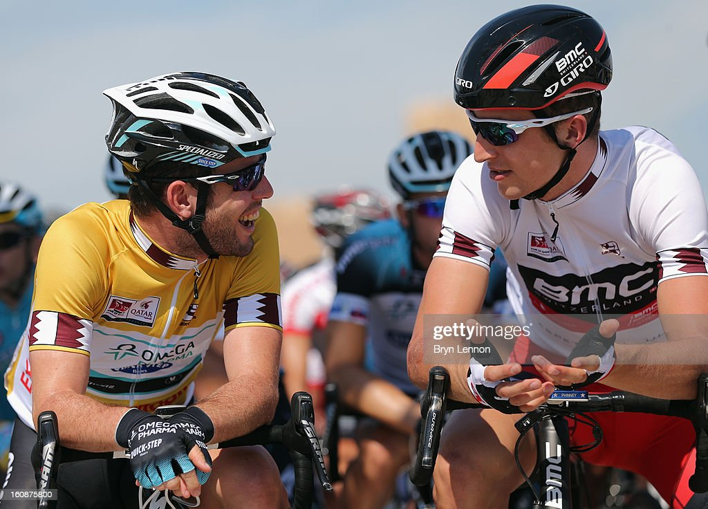 Race leader <a gi-track='captionPersonalityLinkClicked' href=/galleries/search?phrase=Mark+Cavendish&family=editorial&specificpeople=684957 ng-click='$event.stopPropagation()'>Mark Cavendish</a> (l) of Great Britain and Omega Pharma - Quick Step chats to Best Young rider <a gi-track='captionPersonalityLinkClicked' href=/galleries/search?phrase=Taylor+Phinney&family=editorial&specificpeople=4645036 ng-click='$event.stopPropagation()'>Taylor Phinney</a> of the USA and the BMC Racing Team at the start of stage five of the 2013 Tour of Qatar from Al Zubara Fort to Madinat Al Shamal on February 7, 2013 in Madinat Al Shamal, Qatar.