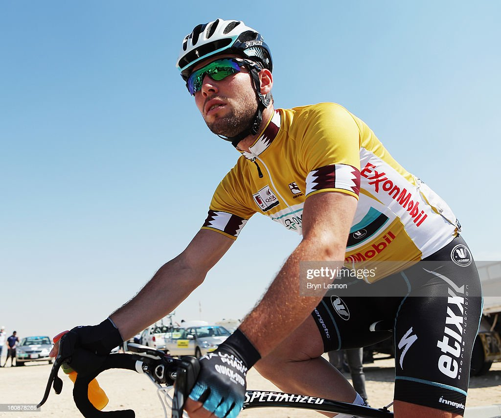 Race Leader <a gi-track='captionPersonalityLinkClicked' href=/galleries/search?phrase=Mark+Cavendish&family=editorial&specificpeople=684957 ng-click='$event.stopPropagation()'>Mark Cavendish</a> of Great Britain and Omega Pharma - Quick Step looks on at the start of stage five of the 2013 Tour of Qatar from Al Zubara Fort to Madinat Al Shamal on February 7, 2013 in Al Zubara Fort, Qatar.