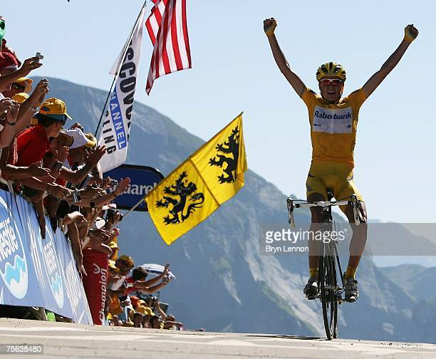 Race leader Michael Rasmussen of Denmark and Rabobank celebrates winning stage 16 of the 2007 Tour de France from Orthez to Gourette Aubisque on July...
