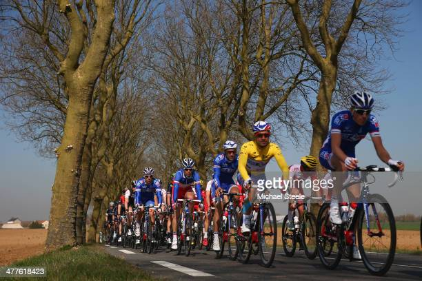 Race leader Nacer Bouhanni of France and FDJ during Stage Two of the Paris Nice race from Rambouillet to SaintGeorgessurBaulche on March 10 2014 in...