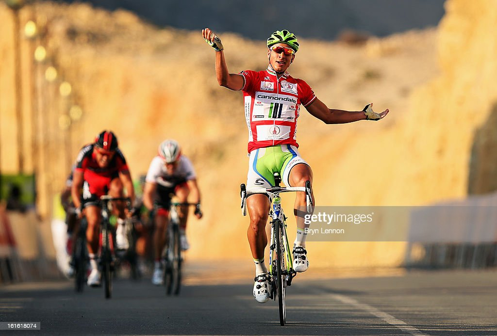 Race leader <a gi-track='captionPersonalityLinkClicked' href=/galleries/search?phrase=Peter+Sagan&family=editorial&specificpeople=4846179 ng-click='$event.stopPropagation()'>Peter Sagan</a> of Slovakia and Cannondale celebrates winning stage three of the 2013 Tour of Oman from Nakhal Fort to Wadi Dayqah Dam on February 13, 2013 in Wadi Dayqah Dam, Oman.