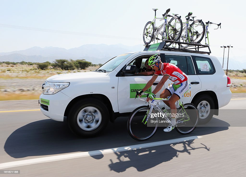 Race leader Peter Sagan of Slovakia and Cannondale drops back to his team car on stage three of the 2013 Tour of Oman from Nakhal Fort to Wadi Dayqah Dam on February 13, 2013 in Wadi Dayqah Dam, Oman.
