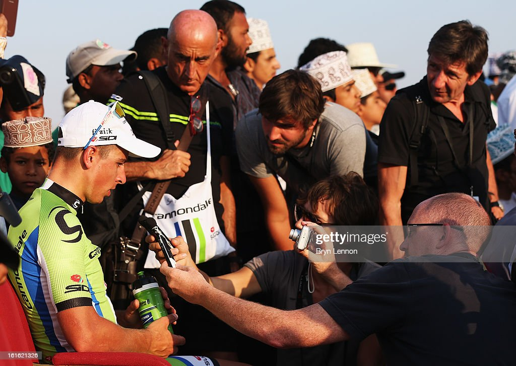 Race leader <a gi-track='captionPersonalityLinkClicked' href=/galleries/search?phrase=Peter+Sagan&family=editorial&specificpeople=4846179 ng-click='$event.stopPropagation()'>Peter Sagan</a> of Slovakia and Cannondale talks to the press after winning stage three of the 2013 Tour of Oman from Nakhal Fort to Wadi Dayqah Dam on February 13, 2013 in Wadi Dayqah Dam, Oman.