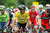 Race leader Peter Sagan of Slovakia and the Tinkoff team rides at the front of the peloton during stage three of the 2016 Tour de France a 2235km...