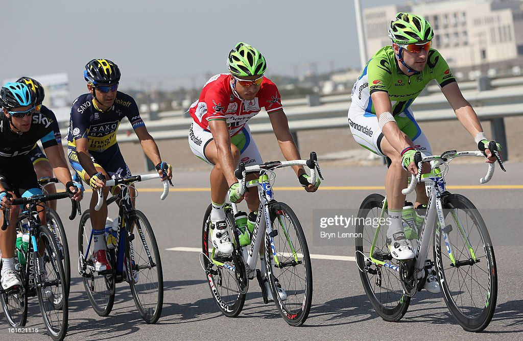 Race leader Peter Sagan rides in the peloton on stage three of the 2013 Tour of Oman from Nakhal Fort to Wadi Dayqah Dam on February 13, 2013 in Wadi Dayqah Dam, Oman.