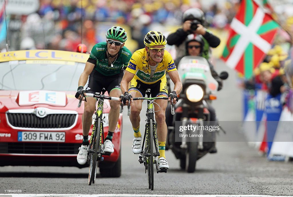 Race leader Thomas Voeckler of France and Team Europcar retained his yellow jersey after stage twelve of the 2011 Tour de France from Cugnaux to...