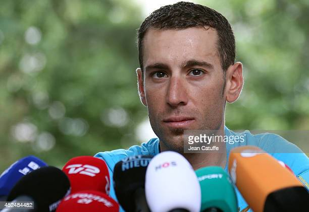 Race leader Vincenzo Nibali of Italy and Astana Pro Team attends a press conference on the second rest day of the 2014 Tour de France at the Hotel...