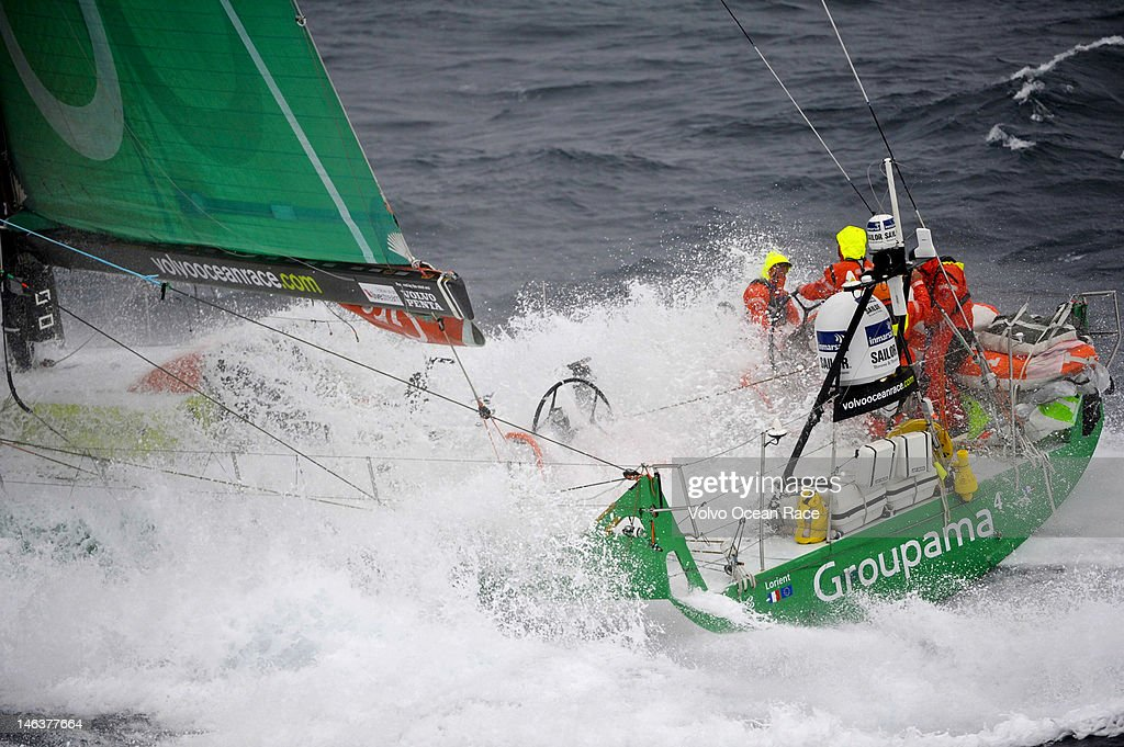 Race leaders Groupama Sailing Team, skippered by <a gi-track='captionPersonalityLinkClicked' href=/galleries/search?phrase=Franck+Cammas&family=editorial&specificpeople=773410 ng-click='$event.stopPropagation()'>Franck Cammas</a> from France, lead the fleet at full speed, on the approach to the finish of leg 8, from Lisbon, Portugal, to Lorient, France on June 15, 2012 during the Volvo Ocean Race 2011-12.