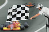 Race official waving checkered flag above race cars (blurred motion)