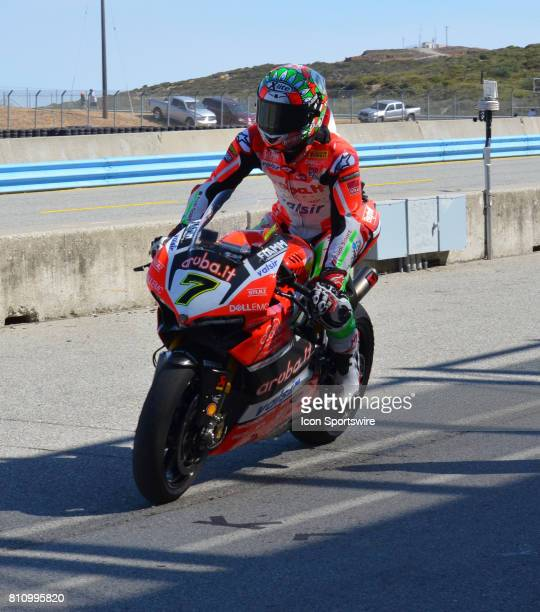 Race One winner Chaz Davies Ducati Panigale R Arubait Racing Ducati heads out to track for start of race at the SBK/MOTUL FIM Superbike World...