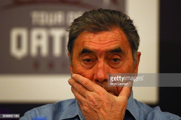 Race Organiser Eddy Merckx attends a press conference ahead of the 2016 Tour of Qatar on February 7 2016 in Doha Qatar