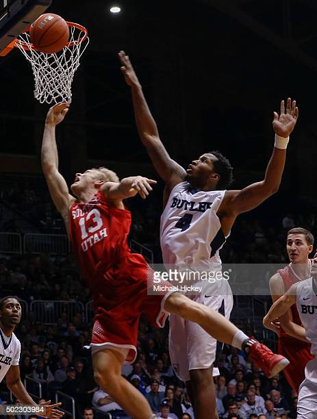 Race Parsons of the Southern Utah Thunderbirds shoots the ball as Tyler Wideman of the Butler Bulldogs guards from behind at Hinkle Fieldhouse on...