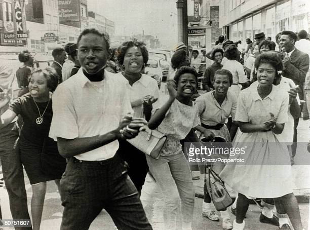 7th May 1963 Birmingham Alabama Black demonstrators jeer at the camera and policemen in the downtown area during a period of racial tension
