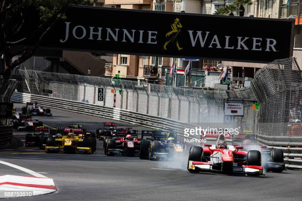 F2 Race start with 01 LECLERC Charles from Monaco of Prema Racing at the front during the Monaco Grand Prix of the FIA Formula 2 championship at...