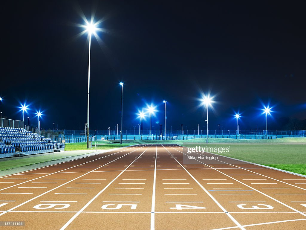 Race Track At Night : Stock Photo